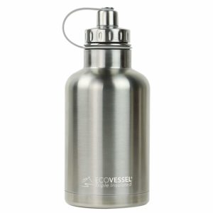 Vacuum Insulated Large Travel Growler Bottle for Water, Beer, and Tea - Stainless Steel 64 oz Thermos Water Bottle with Infuser Filter and Wide Mouth Dual Opening Cap - EcoVessel BOSS
