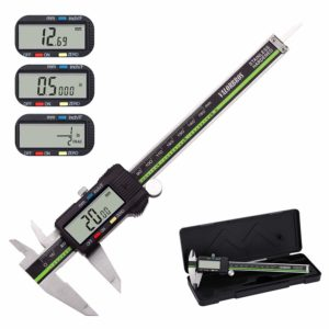 Digital Caliper Stainless Steel Body with Large LCD Screen 6 Inch Millimeter Fractions Conversion VALORBROS Electronic Vernier Caliper Measuring Tool