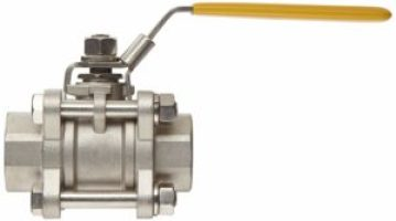 "Merit Brass Stainless Steel 316 Ball Valve, Three Piece, Full Port, Lever, 1/2"" NPT Female"