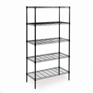 "Seville Classics 5-Tier Black Epoxy Steel Wire Shelving, 14"" D x 30"" W x 60"" H"