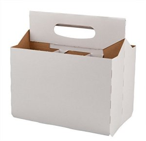 TFD Supplies Six Pack Bottle Cardboard Carrier Boxes for 12oz Beer or Soda Bottles (10 Pack)