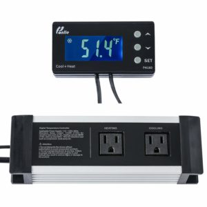Poniie PN160 Digital Temperature Controller 2-Stage Controlled Outlet Thermostat for Reptile, Heat Mat and Brewing, w/Calibration & Compressor Protection