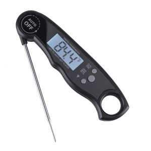 Meat Thermometer, AIBSI Ultra Fast Instant Read Thermometer with Collapsible Probe and Magnet Waterproof Kitchen Cooking Thermometer for Outdoor BBQ Fork Grill Smoker Fry Food, Black