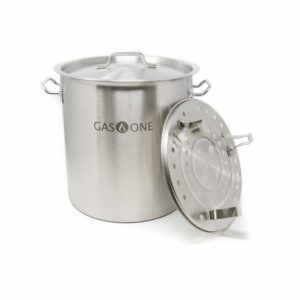 Gas One Stainless Steel Stock Pot with Steamer 10 Gallon with lid/cover & Steamer Rack, Tamale, Dumpling, Crawfish, Crab Pot/Steamer Thickness 1mm Perfect for Homebrewing & Boiling Sap for Maple Syrup