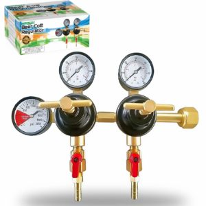 """Co2 Beer Regulator Two Product Dual Pressure Kegerator Heavy Duty Features T-Style Adjusting Handle - 0 to 60 PSI-0 to 2000 Tank Pressure CGA-320 Inlet w/ 3/8"""" O.D. Safety Discharge 50-55 PSI"""