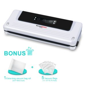 Bonsenkitchen Automatic Vacuum Food Sealer Machine for Sous Vide Cooking and Food Saver| Dry and Moist Food Modes| Bonuse with Vacuum Bags and Roll