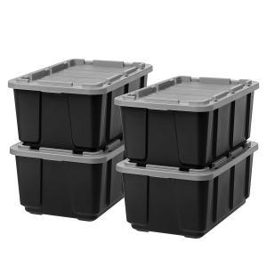 IRIS USA, Inc. R-UTB-27 IRIS 27 Gallon Utility Tough Tote, 4 Pack, Black with Gray Lid 27 GAL Count