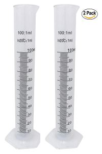 Plastic Graduated Cylinder Flask Set - 100ml Science Test Tube Beakers, 2-Sided Measuring Lines - Printed and Molded Graduations (Pack of 2)