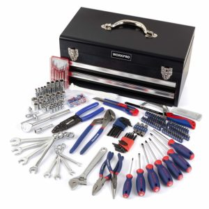WORKPRO 229-Piece Tool Set - General Household Tool Kit with 2 Drawers Metal Box - Durable, Long Lasting Chrome Finish Tools - Perfect for DIY, Auto, Home Maintenance - Premium Tool Box Set