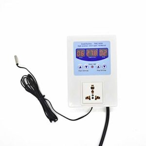 GeekTeches LED Digital Intelligent Pre-wired Temperature Controller Outlet with Sensor Thermostat Heating Cooling Control Switch-TMC-1000 AC110-240V 10A
