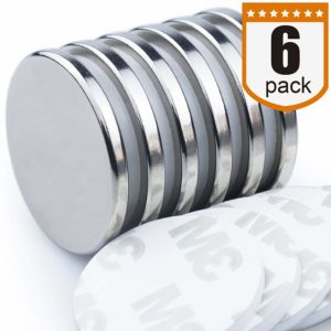 "DIYMAG Powerful Neodymium Disc Magnets, Strong, Permanent, Rare Earth Magnets. Fridge, DIY, Building, Scientific, Craft, and Office Magnets, 1.26""D x 1/8""H, Pack of 6"
