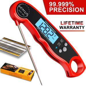 Digital Meat Thermometer-HENSUN Instant Read Thermometer-Waterproof Meat Thermometer Oven Safe with Folding Probe-BBQ Or Grilling, with Magnetic   Backlight & Calibration   Quick, Smart Cooking