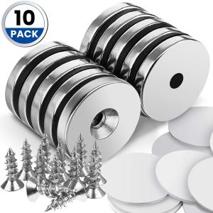 "DRILLPRO 10pcs Neodymium Magnets, 1.26""D x 0.2""H Strong Magnet Neodymium Disc for Hanging Artwork, Magnetic Tools, Countersunk Hole Magnet Discs with 12pcs Screws and 10 Sheet Double-Sided Stickers"