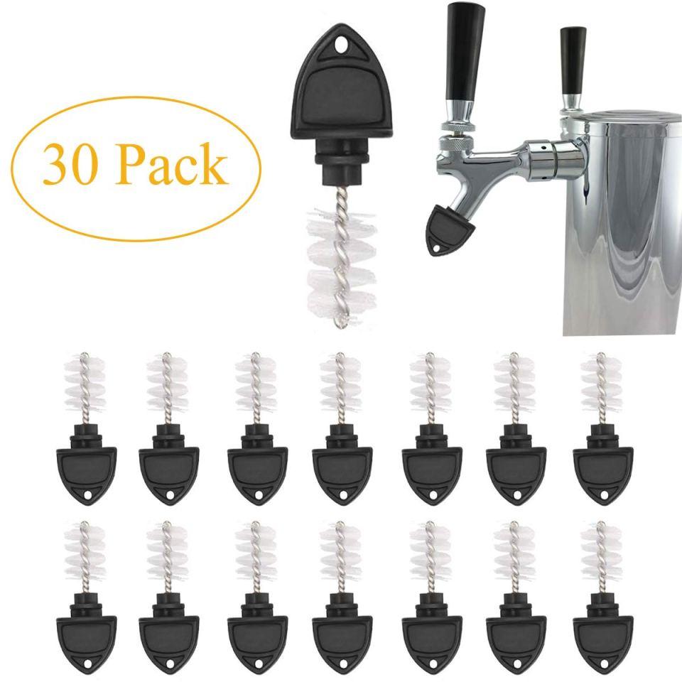 Beer Plugs Tap Brush, 30 Pack Beer Faucet Tap Cleaning Plug Hygiene Brush For Draft Beer Faucet Cap Black