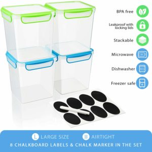 [Set of 4] 142oz/18cup/4,4Qt - Large AirTight Food Storage Containers for Flour, Sugar, Dry Food etc. - Stackable, Leakproof With Locking Lids - BPA Free Plastic + 8 Labels and Marker by GoodCups