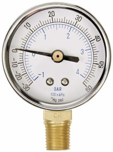 "PIC Gauge 101D-204CD 2"" Dial, 30/0/60 psi Range, 1/4"" Male NPT Connection Size, Bottom Mount Dry Pressure Gauge with a Black Steel Case, Brass Internals, Chrome Bezel, and Plastic Lens"