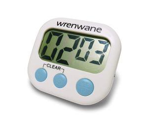 Wrenwane Digital Kitchen Timer, No Frills, Simple Operation, Big Digits, Loud Alarm, Magnetic Backing, Stand, White