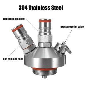Stainless Steel Beer Dispenser, Wrewing Mini Keg Tap Dispenser with Safety Valve Kegging Equipment for 2L/3.6L/5L Growler