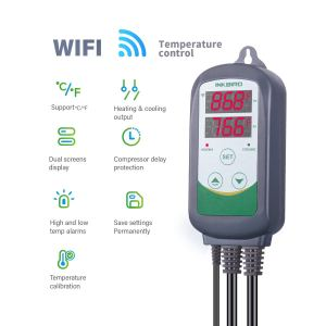 Inkbird WIFI Temperature Controller Reptile Freezer Thermostat ITC308 2.4GHz Digital Heating and Cooling Aquarium Heater Cooler Greenhouse Plug Outlet Probe Dual Stage 1100W 110V