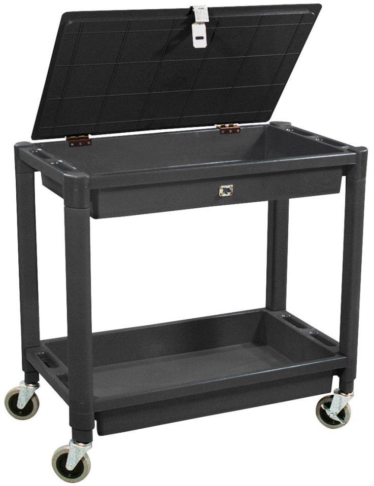 Astro Pneumatic Tool 8334 2 Shelf Plastic Cart with Locking Lid - Black Color