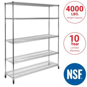 "Seville Classics UltraDurable Commercial-Grade 5-Tier NSF-Certified Steel Wire Shelving with Wheels, 60"" W x 18"" D x 72"" H, Chrome"