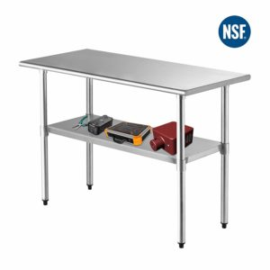 "SUNCOO NSF Stainless Steel Table 48""x24""Commercial Prep Table Heavy Duty Garage Worktable Workbench Industrial Restaurant Food Preparation Work Table for Shop"