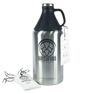 Batchford 64 oz Double Wall Stainless Steel Vacuum Insulated Growler with Writable Label Tags