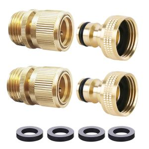 HQMPC Garden Hose Quick Connect Solid Brass Quick Connector Garden Hose Fitting Water Hose Connectors 3/4 inch GHT (2SETS)