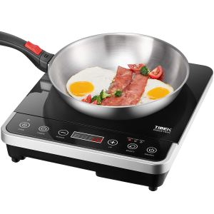 Induction Cooktop,1800 Watt Portable Induction Burner for Rapid Heating, Induction Cooker with 10 Power/Temperature Settings, Up to 180 mins Built-in Timer, Smart Sensor Touch Panel, Kids Safety Lock