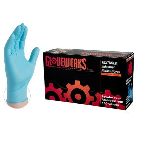GLOVEWORKS Industrial Blue Nitrile Gloves - 5 mil, Latex Free, Powder Free, Disposable, Large, INPF46100-BX, Box of 100