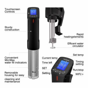 Inkbird WIFI Sous Vide Cookers, 1000 Watts Stainless Steel Thermal Immersion Circulator with Recipe, Digital Interface, Precise Temperature and Timer for Kitchen, Food Slow Cooker