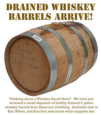homebrew used whiskey barrels
