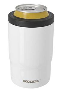 Koozie Stainless Steel Double Wall Vacuum Insulated Triple Can Cooler, Bottle or Tumbler - 12 oz. (White)