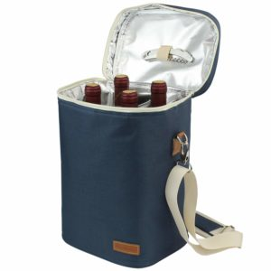 4 Bottle Insulated Wine Tote, Personalized Wine Carrier Bag, Travel Padded Wine Cooler with Corkscrew Opener and Adjustable Shoulder Strap