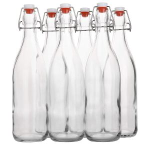 Flip Top Glass Bottle [1 Liter / 33 fl. oz.] [Pack of 6] – Swing Top Brewing Bottle with Stopper for Beverages, Oil, Vinegar, Kombucha, Beer, Water, Soda, Kefir – Airtight Lid & Leak Proof Cap – Clear