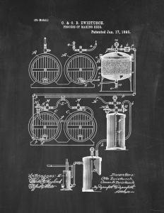 "Process Of Making Beer Patent Print Chalkboard (8.5"" x 11"") M12474"