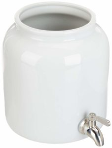 5 Liter Continuous Brew Kombucha Dispenser Jar with Stainless Steel Spigot (1.3 Gallon) Ceramic Kombucha Brew Vessel for Continuous Kombucha Batches with Cotton Cloth and Rubber Band (Natural White)