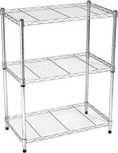 AmazonBasics 3-Shelf Shelving Storage Unit, Metal Organizer Wire Rack, Chrome Silver (23.2L x 13.4W x 30H)