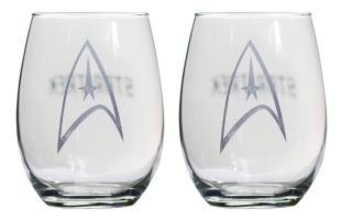 Star Trek Collectible Wine Glass Set, Starfleet Command Insignia Badge