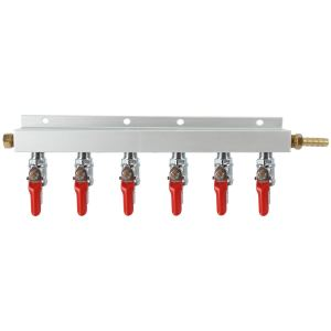 "YaeBrew Gas Manifold, Beer Gas Distributor, Air Distributor CO2 Manifold 5/16"" - 6 Way"