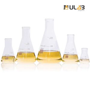 ULAB Scientific Glass Erlenmeyer Flask Set, 5 Sizes 50ml 150ml 250ml 500ml 1000ml, 3.3 Boro with Printed Graduation, UEF1002
