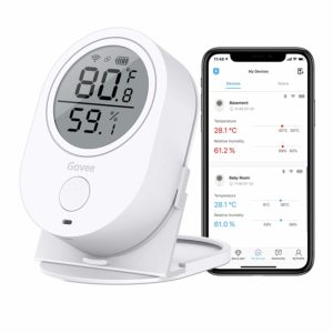 Temperature Humidity Monitor, Govee WiFi Digital Indoor Hygrometer Thermometer, Wireless Temp Humidity Sensor Humidity Gauge with Alerts for Home Garage Cigar Humidor[Don't Support 5G WiFi]