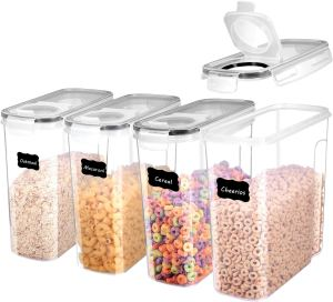 ME.FAN Cereal Storage Containers [Set of 4] Airtight Food Storage Containers 4L(135oz) - Large Kitchen Storage Keeper with 24 Chalkboard Labels - BPA Free, Easy Pouring Lid (Black)