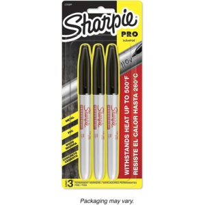 Sharpie 13763PP Industrial Fine Point Permanent Marker, Withstand Up To 500F, Designed for Industrial and Laboratory Users, Black Color, 1 Blister with 3 Markers