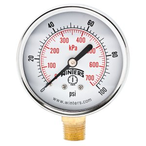 "Winters PEM Series Steel Dual Scale Economical All Purpose Pressure Gauge with Brass Internals, 0-100 psi/kpa, 2-1/2"" Dial Display, +/-3-2-3% Accuracy, 1/4"" NPT Bottom Mount"