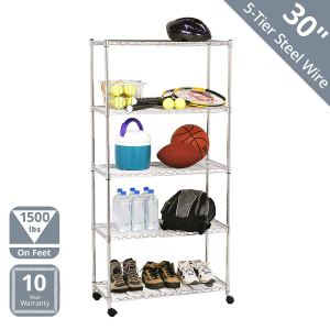 "Seville Classics 5-Tier Steel Wire Shelving with Wheels, 30"" W x 14"" D x 60"" H, Plated Steel"