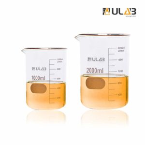 ULAB Scientific Glass Beaker Set, 2 Sizes 1000ml 2000ml, 3.3 Borosilicate Griffin Low Form with Printed Graduation, UBG1018