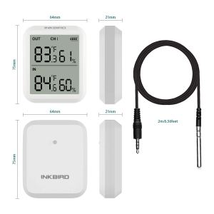Inkbird ITH-20R Temperature and Humidity Monitor with 3 Transmitter Wireless Remote Sensor External Probe Support F and C Thermometer Indoor and Outdoor Baby Room Guitar