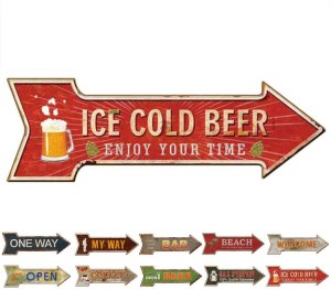HANTAJANSS Bar Signs with Enjoy Your Time Retro Ice Cold Beer Signs for Pub Decoration