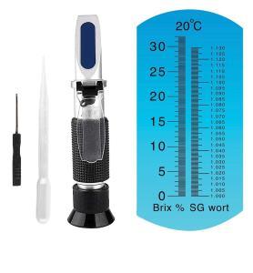 Brix Refractometer for Homebrew Beer Wort Refractometer, Dual Scale Beer Refractometer Specific Gravity 1.000-1.120 and Brix: 0~32%, ATC Wort SG Refractometer Replaces Homebrew Hydrometer